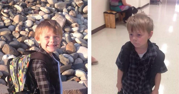 Kindergartner's Second Day Of School Photo Doesn't Look Nearly As Joyous As The First